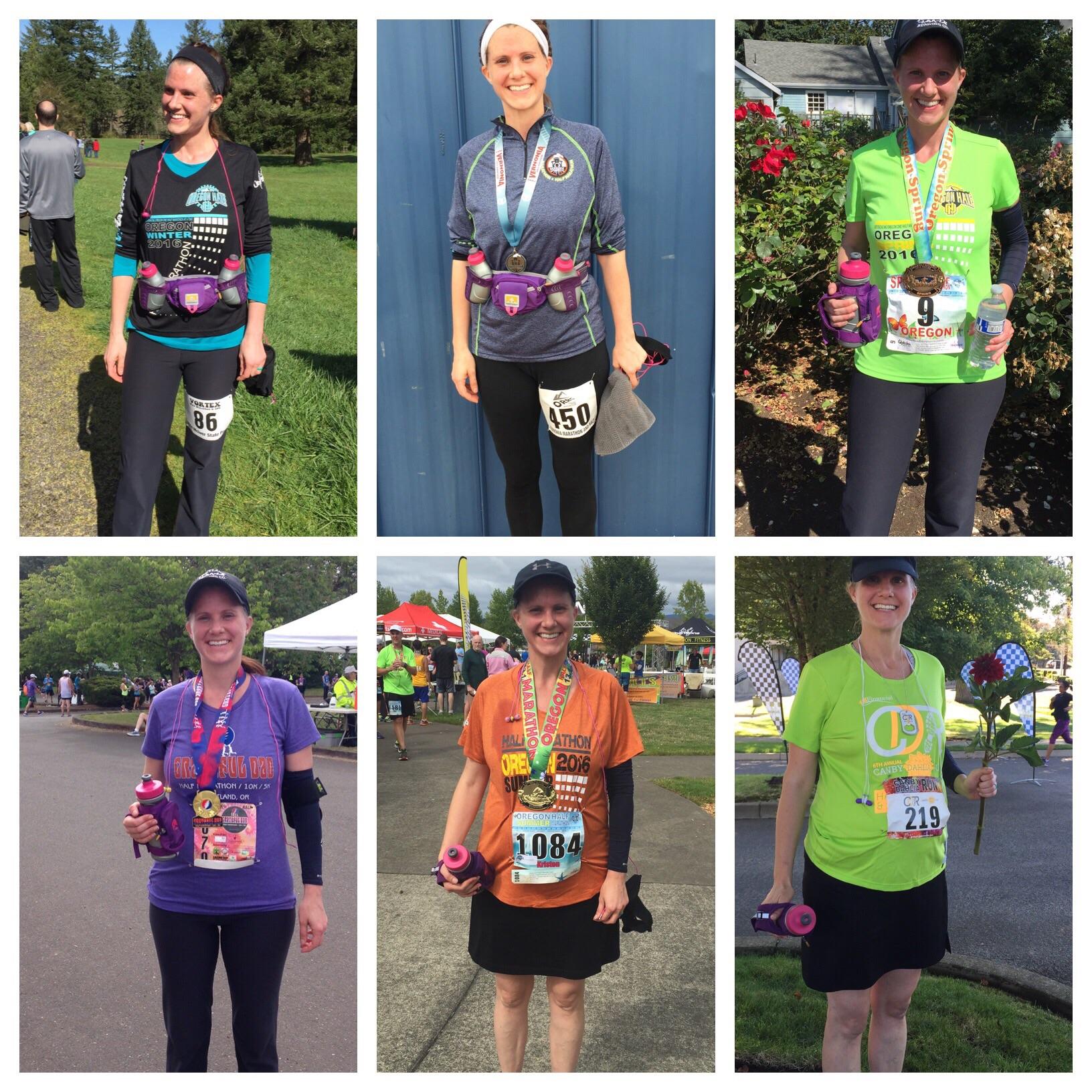 Six months of pregnancy + six half marathons.