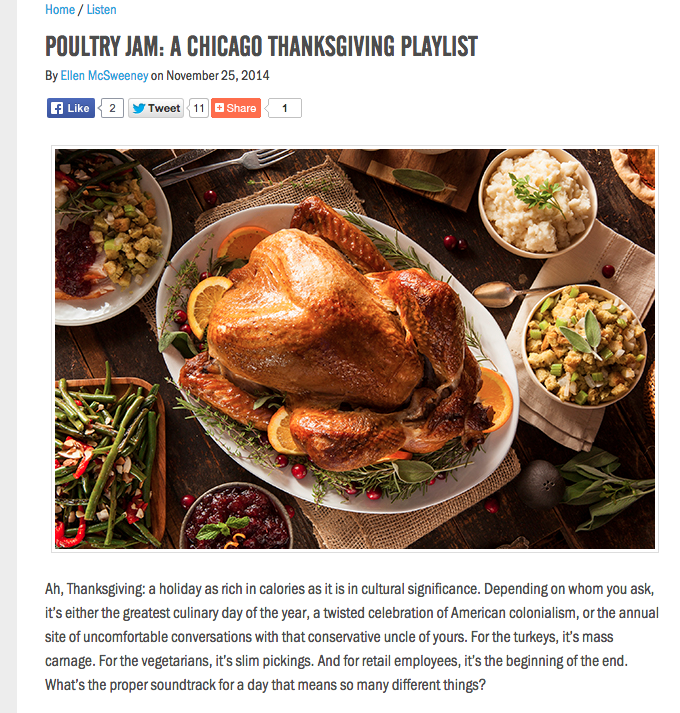 Article and playlist of Thanksgiving-themed music, 2014