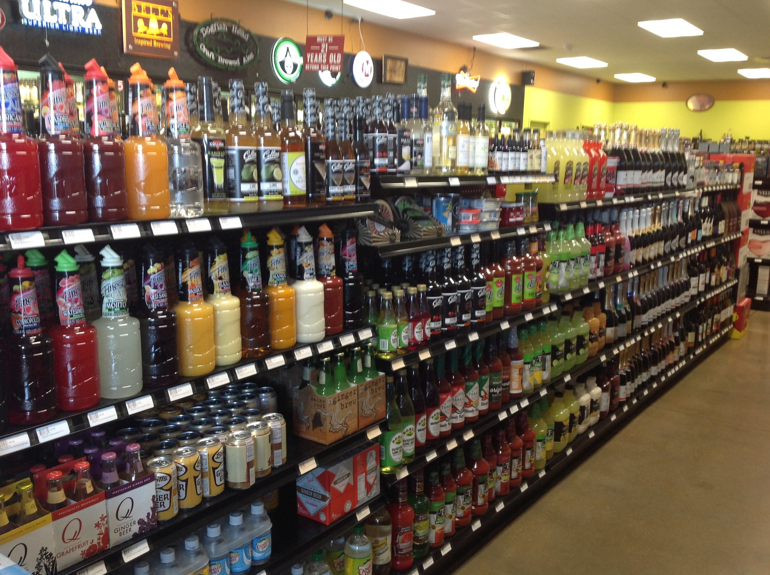 We have all the mixers, bitters and syrups you need to make the perfect drink! Feel free to ask the staff for suggestions!