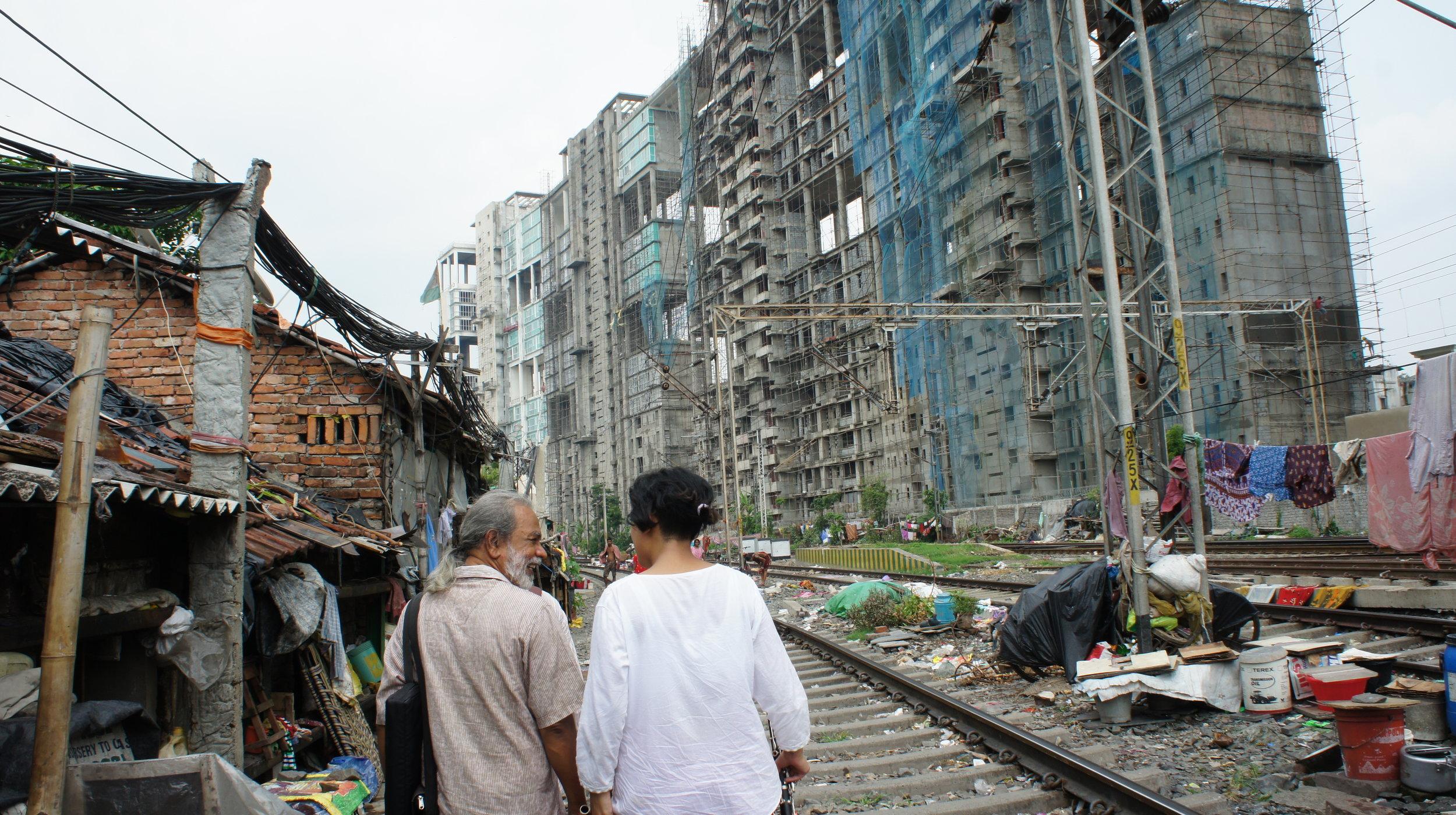 Bulada and Kiran Bhumber at New Alipore Station slum