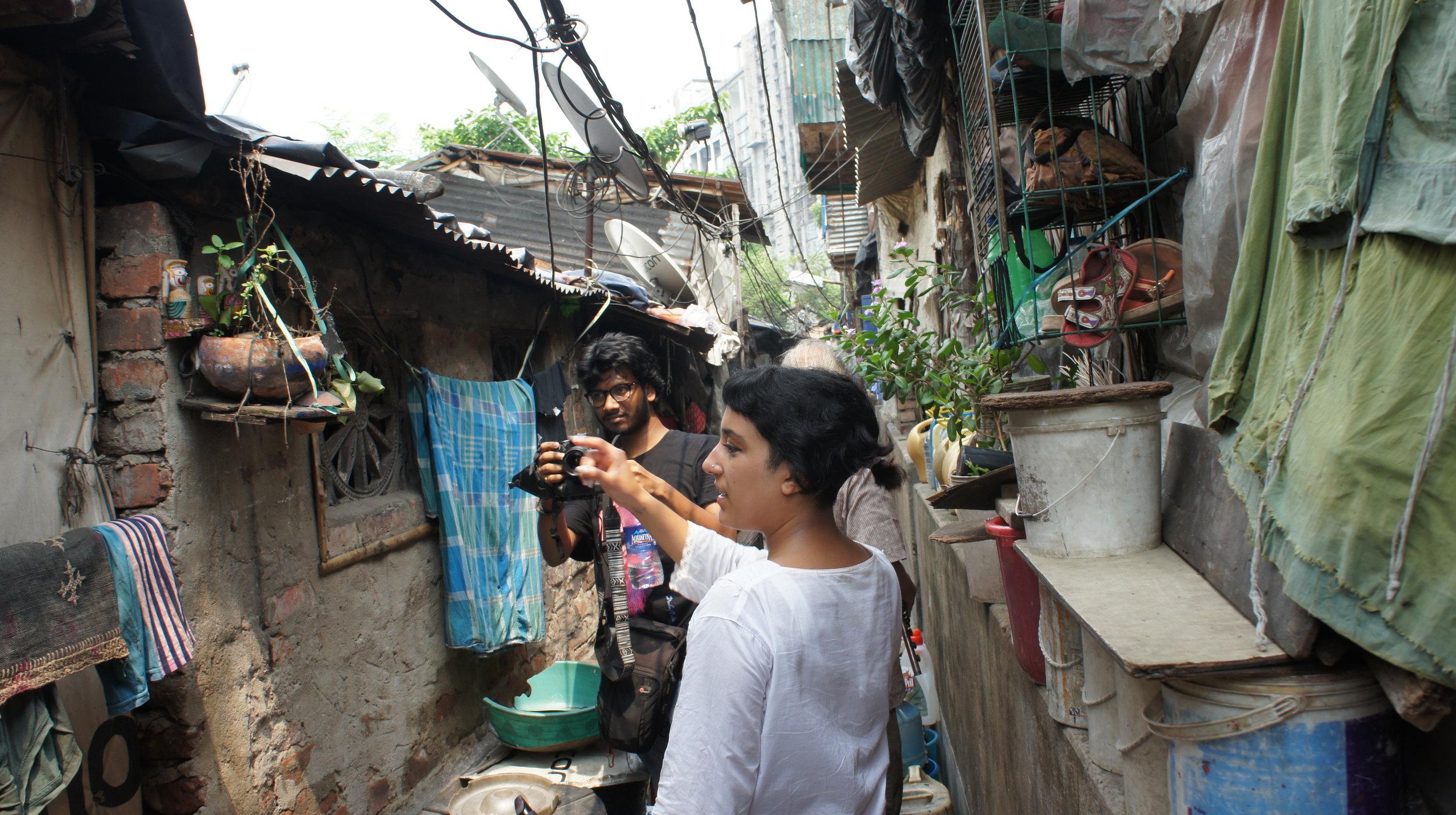 Debraj Jana and Kiran Bhumber at New Alipore station slum
