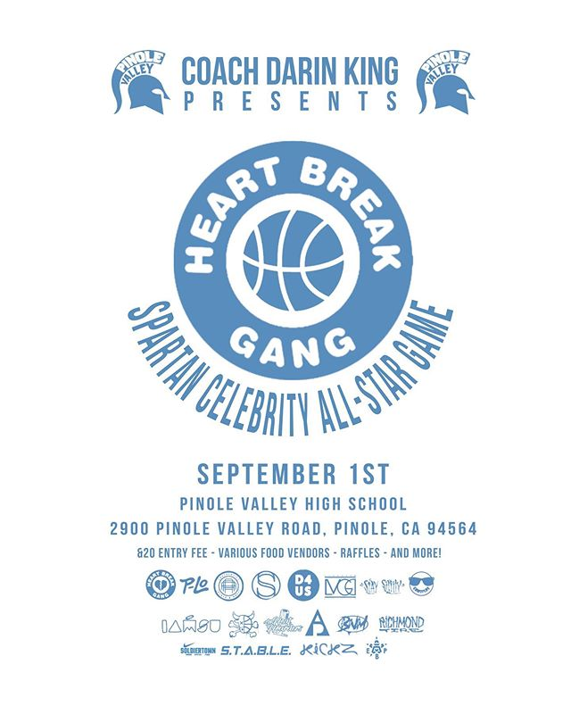💔💔💔 COME JOIN ME AT THE SPARTAN CELEBRITY ALL STAR Basketball 🏀🏀GAME!!! SEPTEMBER 1ST @ PINOLE VALLEY  HIGH SCHOOL  from 1 to 6.