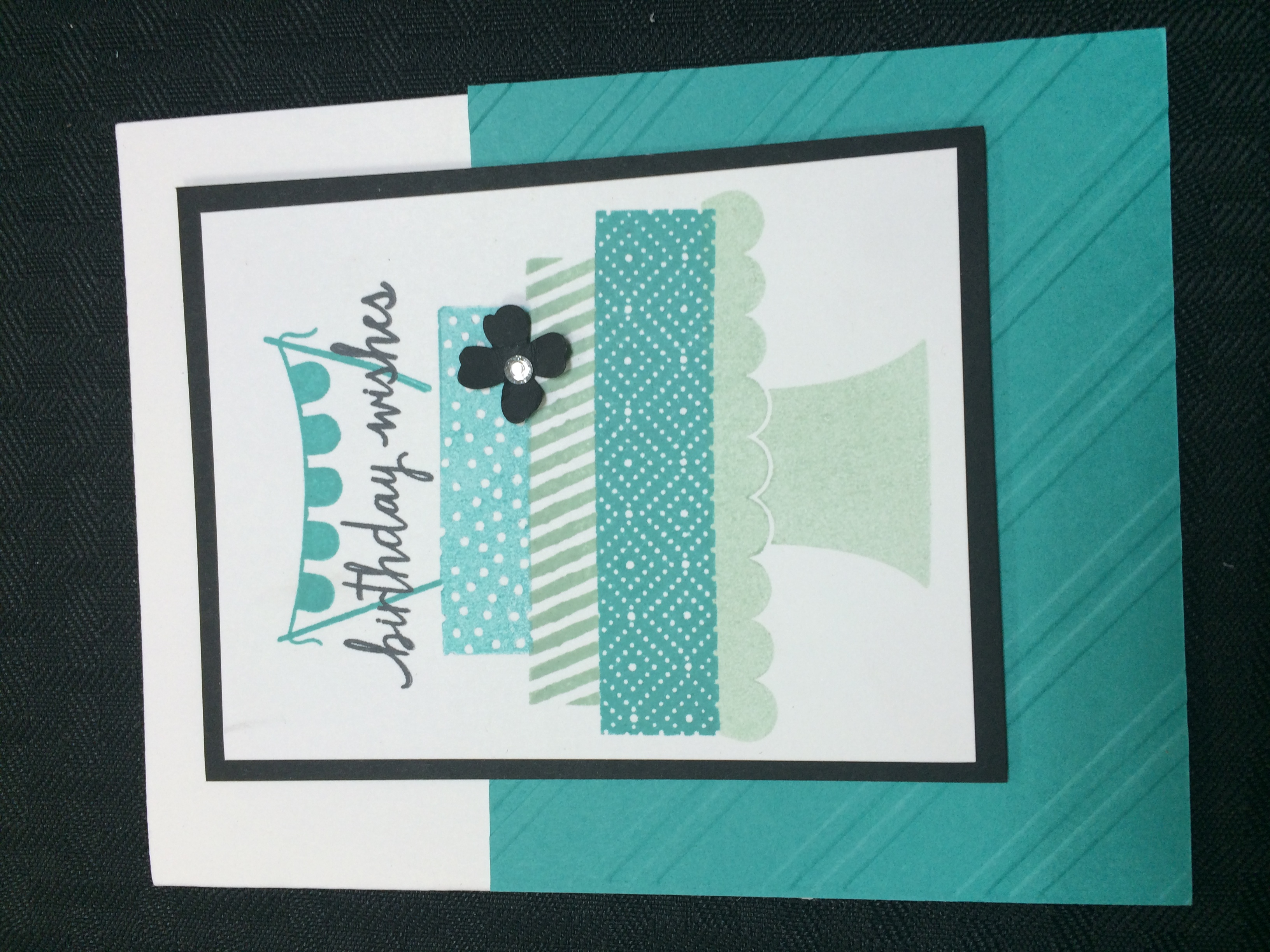 What a fun new birthday set. Its called Build a Birthday and it is a great set to use with washi tape. Since this card was for my stamp a stack class I only used Mint Macaroon ink and Bermuda Bay ink on the cake layers. I stamped off on certain parts to give the card more contrast. This is a great new set that I know I will use again and again.
