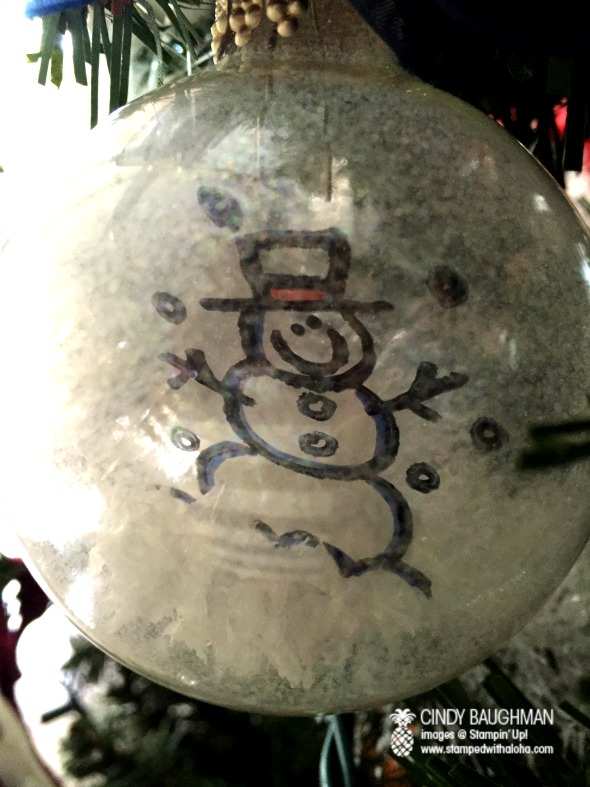 Snowman Ornament with stamped window sheet on inside.  Stamp with Staz On, Roll, Insert, Color with Sharpie Pens
