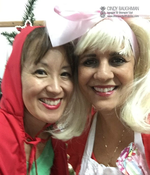 Pam and Cindy host party as  Little Red Riding Hood and Goldilocks