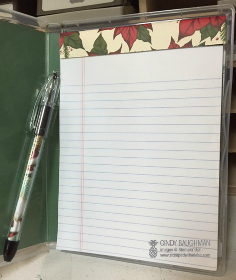 Christmas Note Pad and Pen (inside)