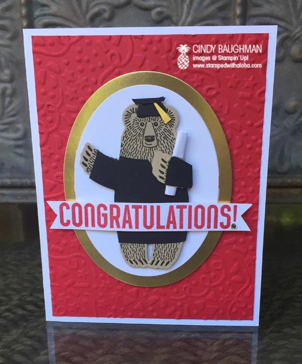 Bear Hugs Graduation Card - www.stampedwithaloha.com