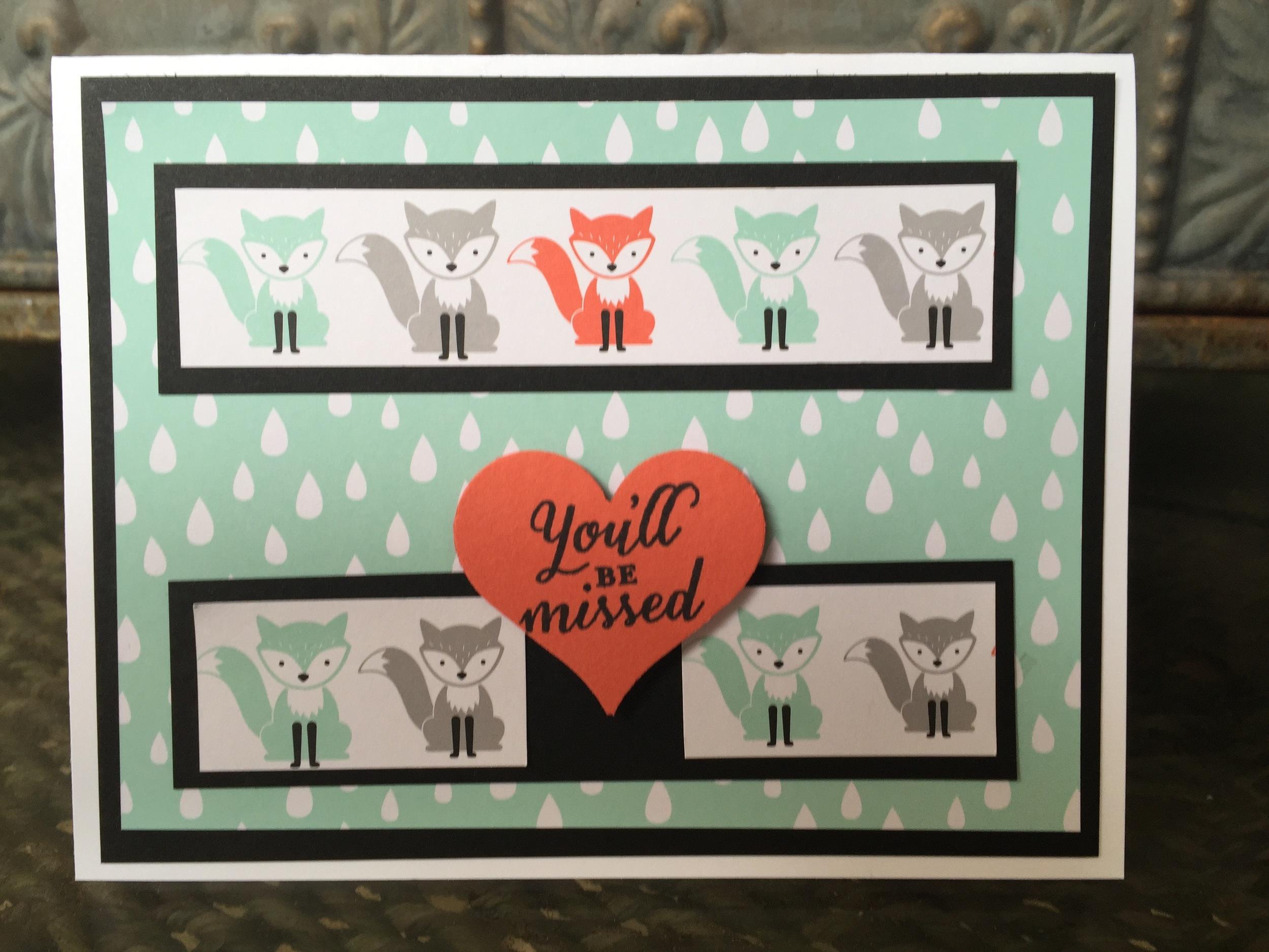 A little foxy farewell card - www.stampedwithaloha.com