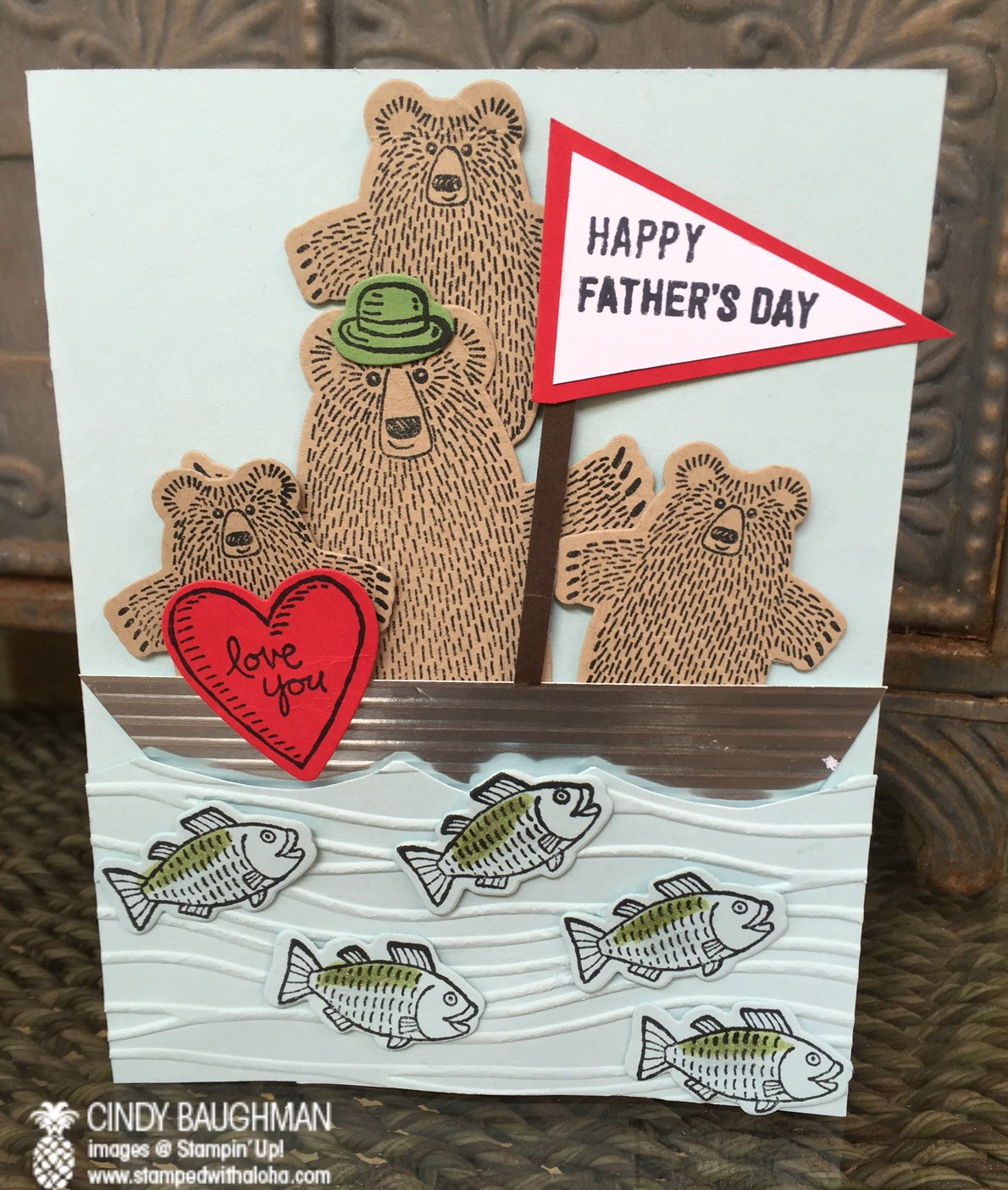 Bear Hugs Father's Day Card - www.stampedwithaloha.com