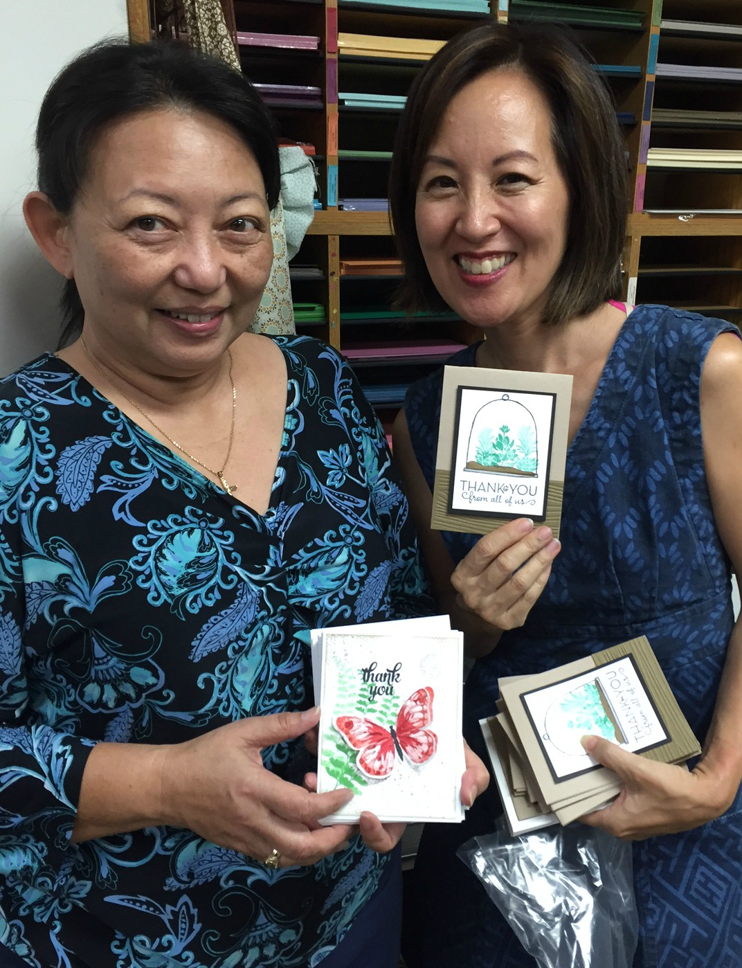 Cyndie and Pam and their beautiful card creations!