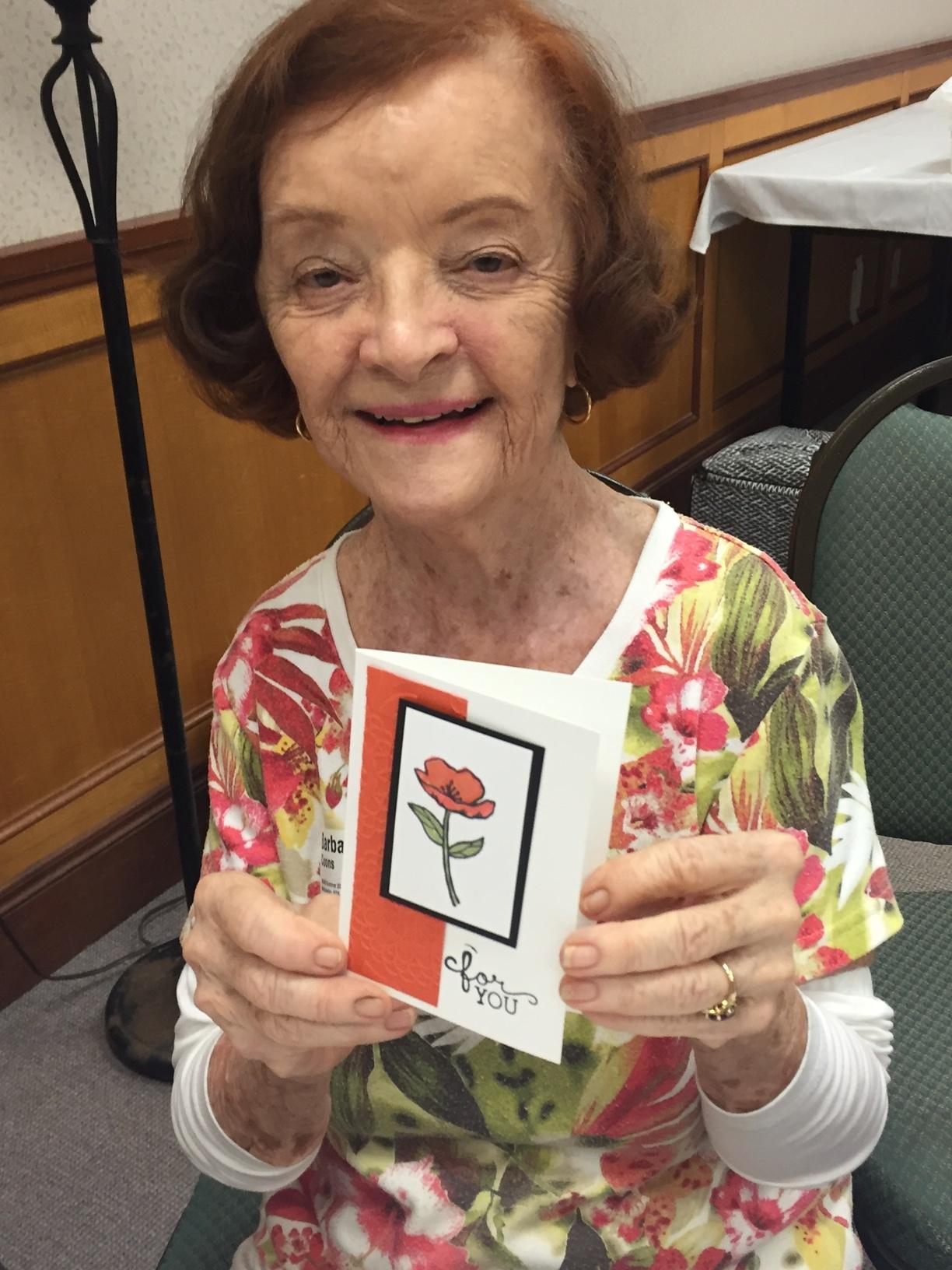 Barbara and her matching card - www.stampedwthaloha.com