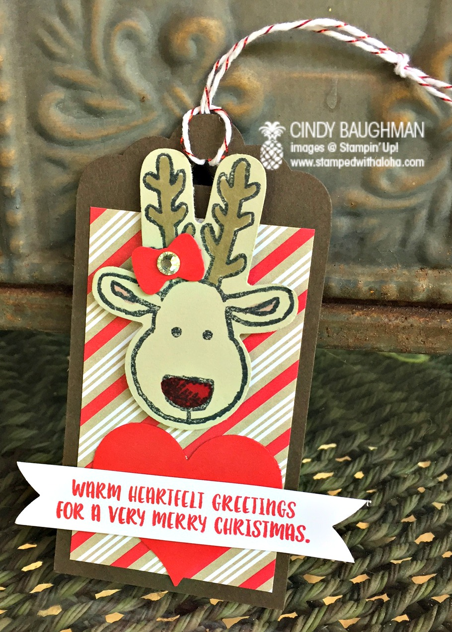 Heartfelt Reindeer Tag - www.stampedwithaloha.com