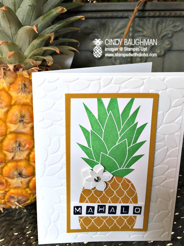 Pineapple Mahalo Card - www.stampedwithaloha.com