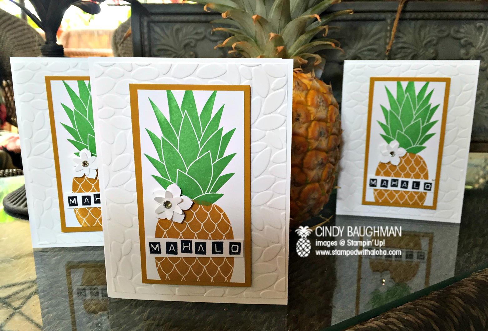 Pineapple Mahalo Cards - www.stampedwithaloha.com