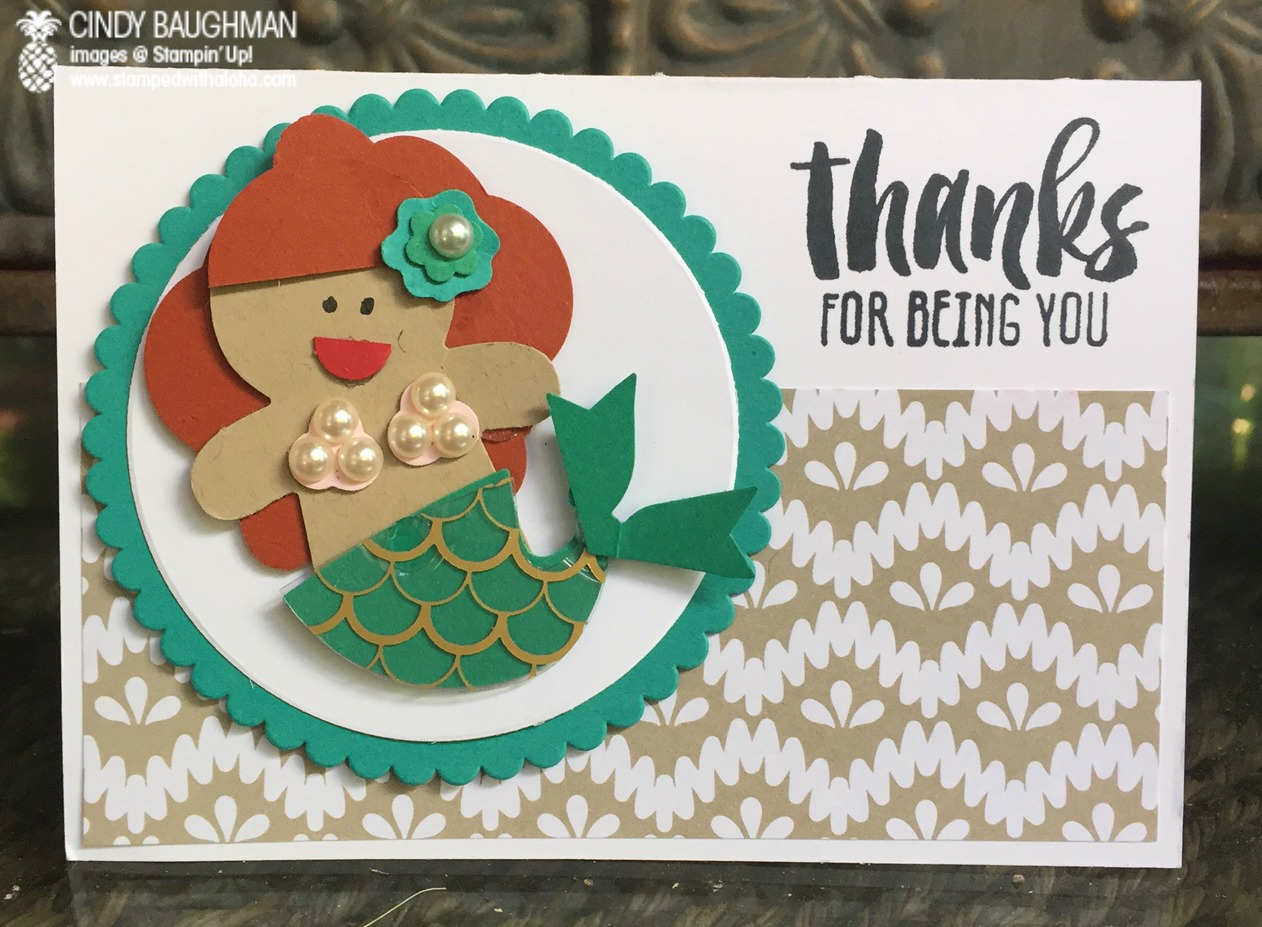 Cookie Cutter Christmas Mermaid Card - www.stampedwithaloha.com