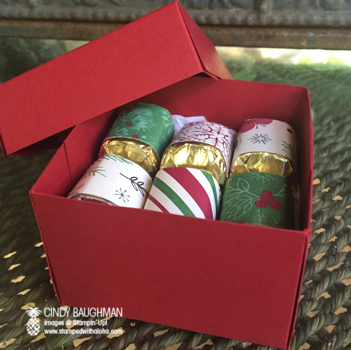 Inside of Candy Cane Christmas Pine Bough Box - www.stampedwithaloha.com