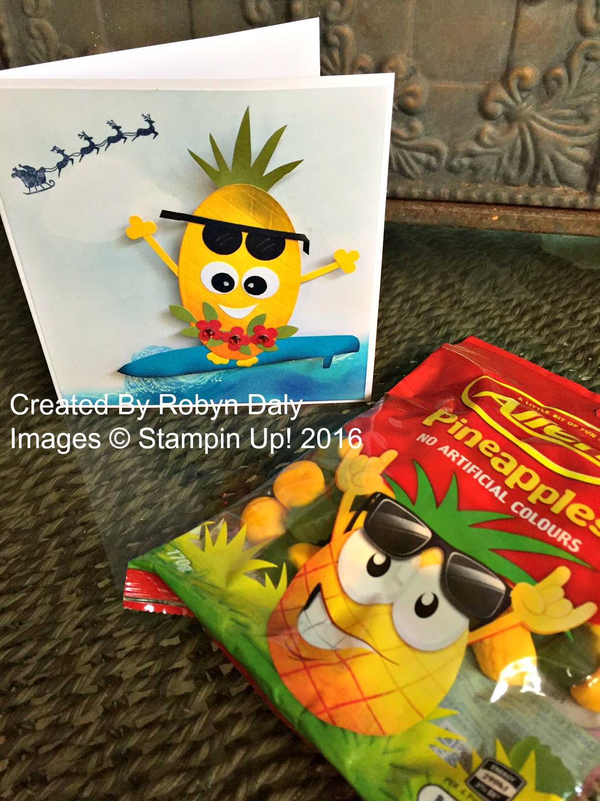 Surfing Pineapple Card and gift - www.stampedwithaloha.com