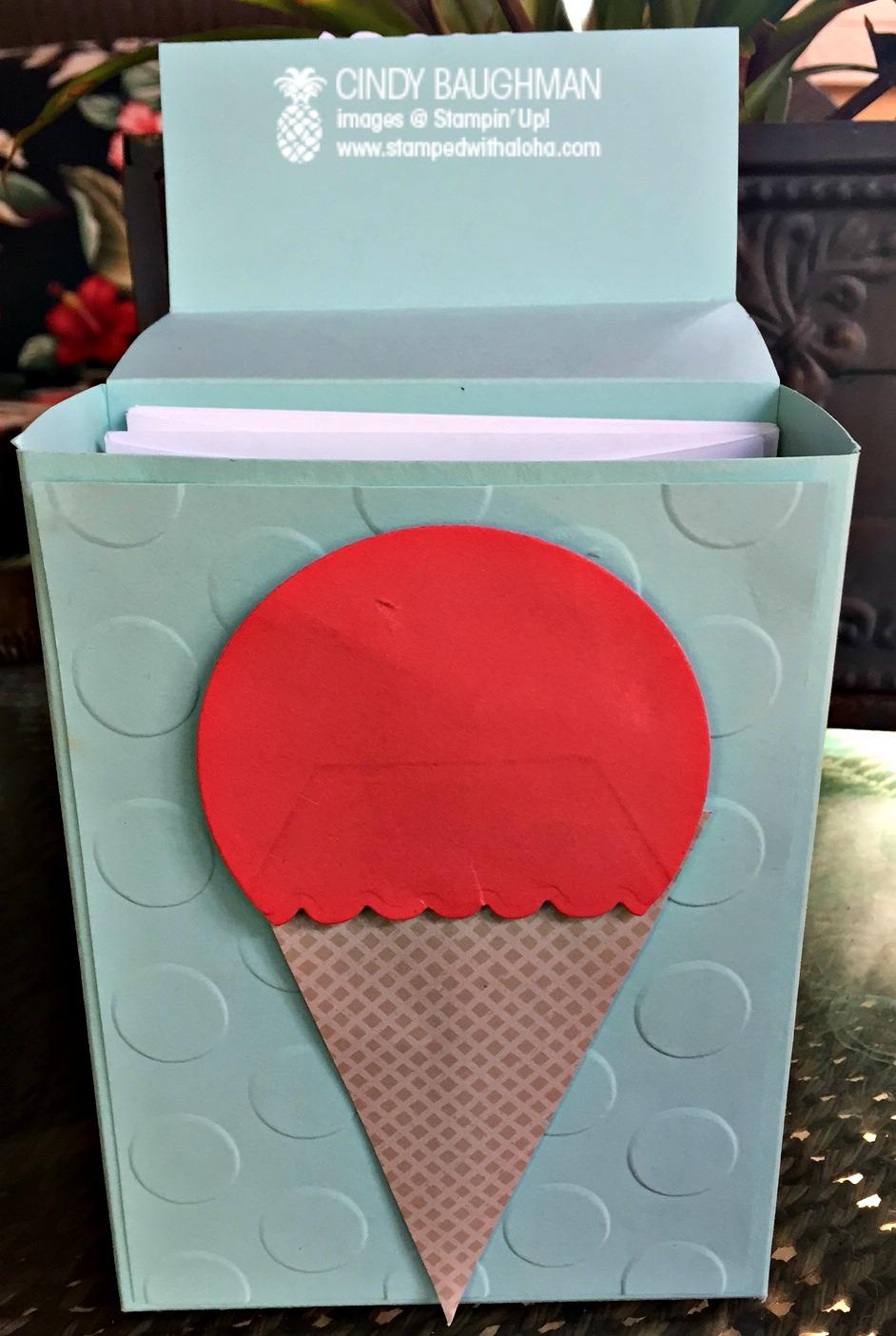 Ice Cream Card Box - www.stampedwithaloha.com