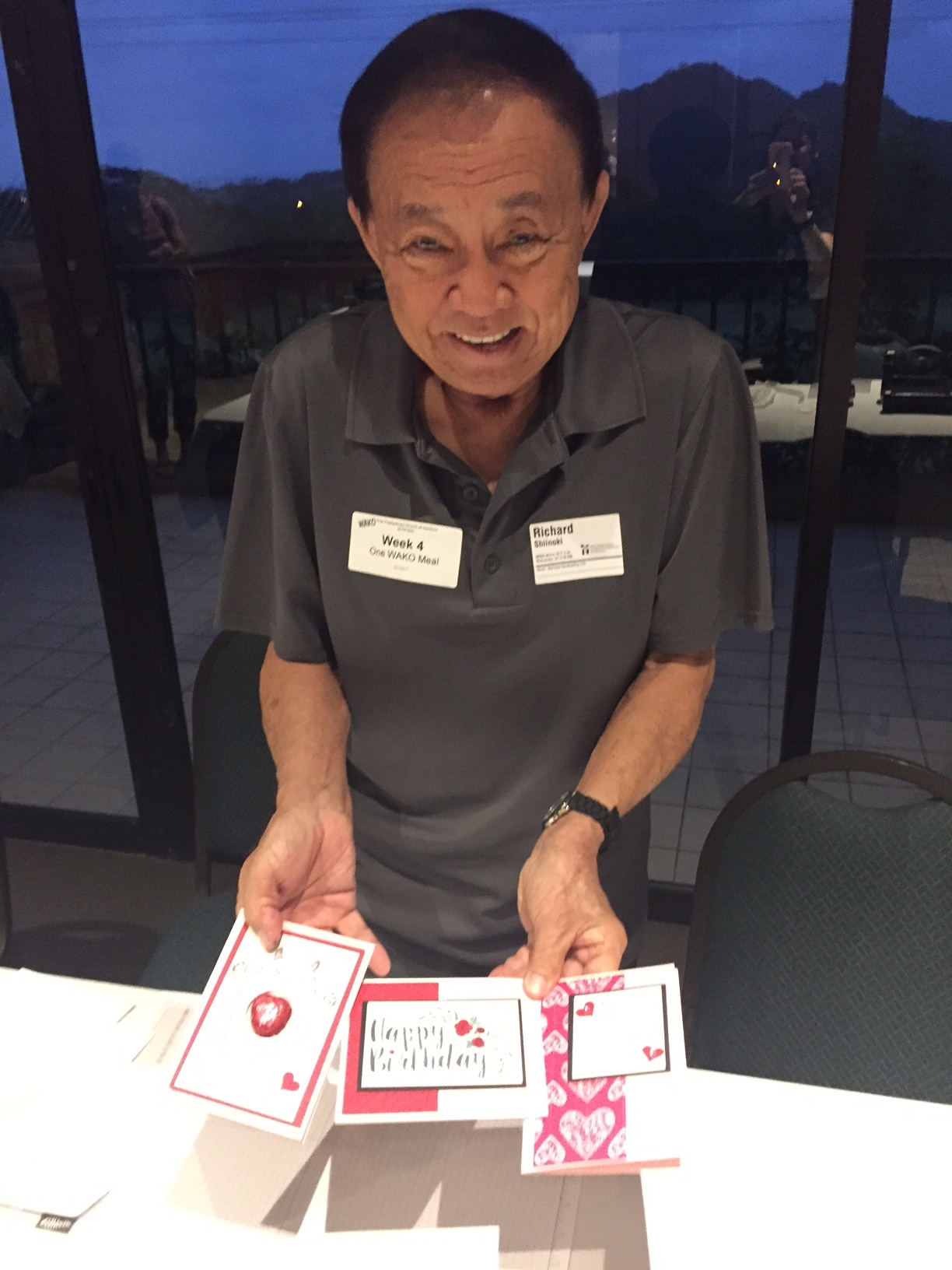 First Time Stamper displaying his cards - www.stampedwithaloha.com