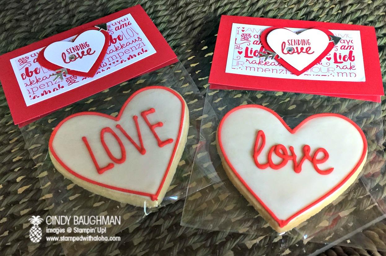 Sending Love Bunco Favors/Cookies by Zoe, Hawaii - www.stampedwithaloha.com