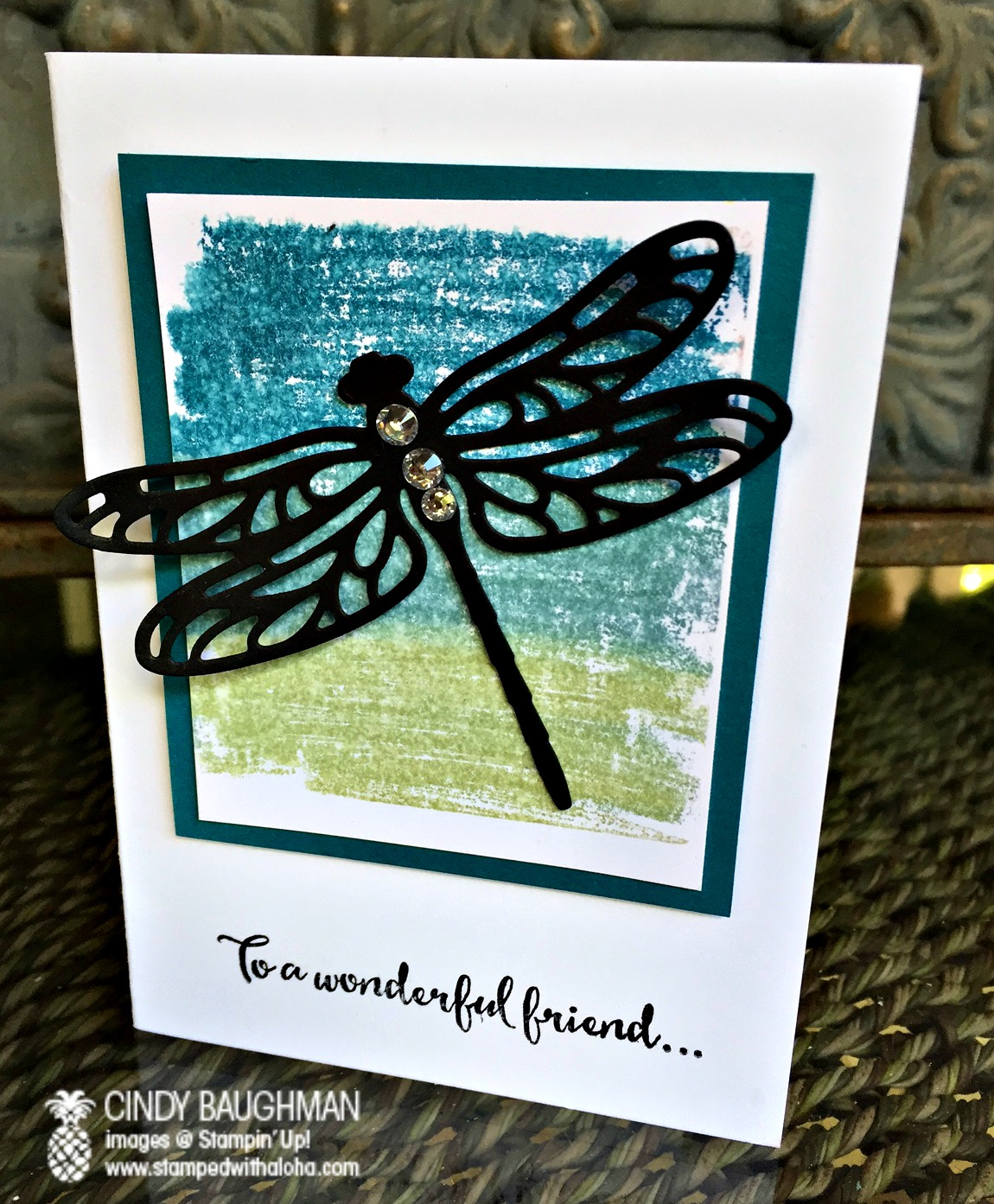 Detailed Dragonfly Card - www.stampedwithaloha.com