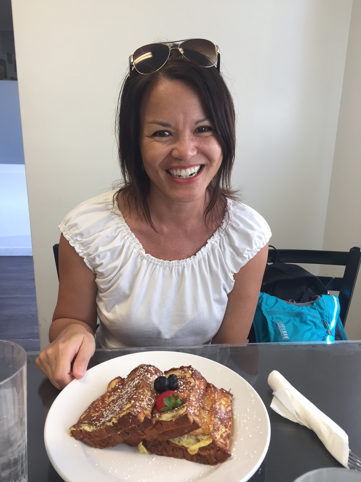 Karin and her Blueberry Cream Cheese Stuffed French Toast at Sweet E's.