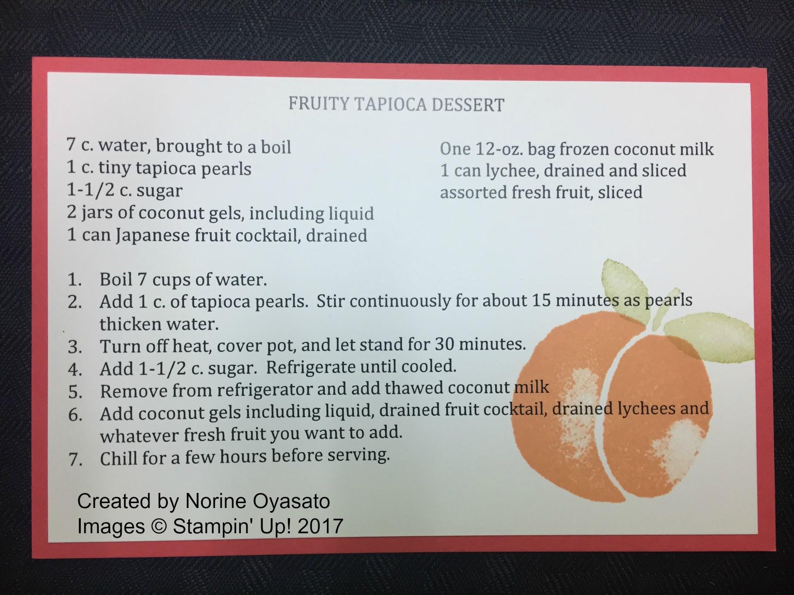 Norine's Tapioca Recipe - www.stampedwithaloha.com