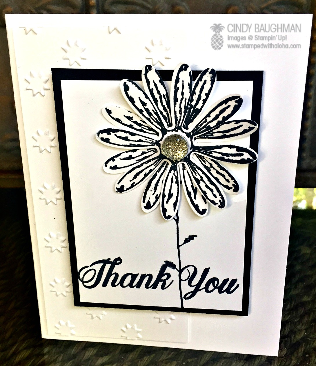 Simple Daisy Delight Thank You card - www.stampedwithaloha.com