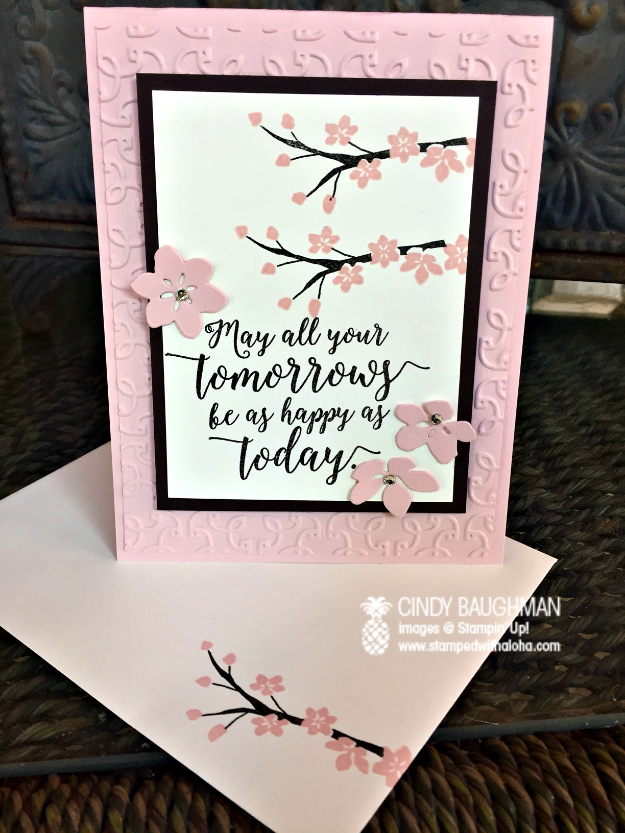Colorful Season Cherry Blossom Card - www.stampedwithaloha.com