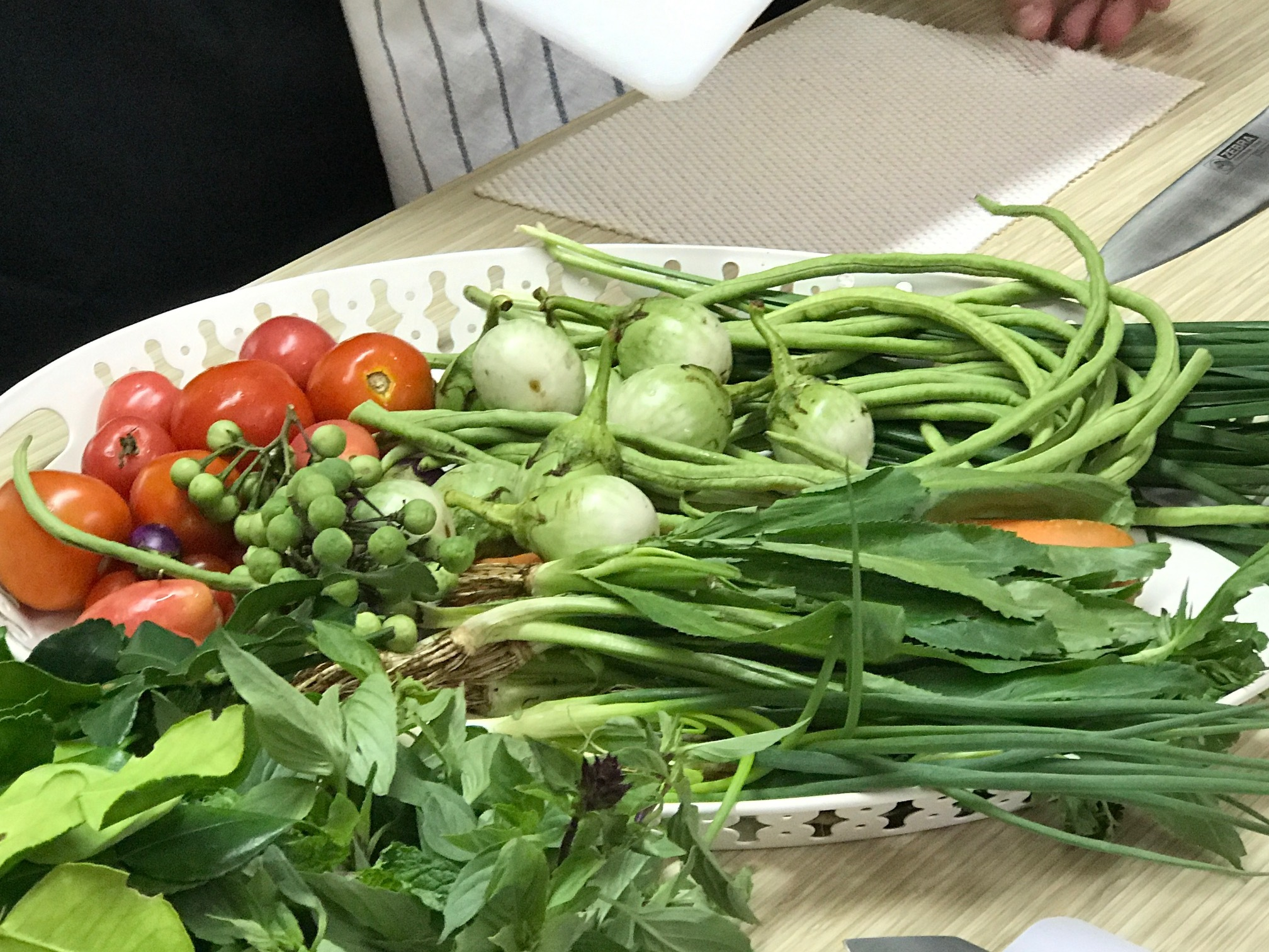 Fresh Vegetables at our Thai Cooking class
