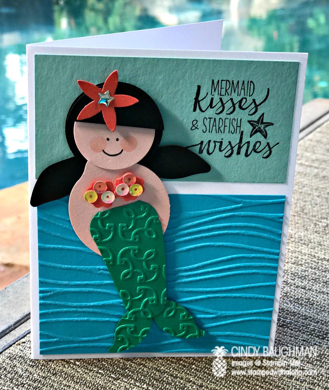 Mermaid Punch Art Card - www.stampedwithaloha.com