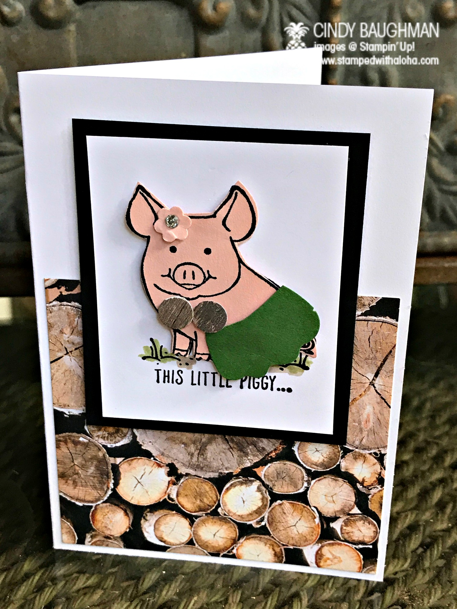 This Little Hula Piggy Card - www.stampedwithaloha.com
