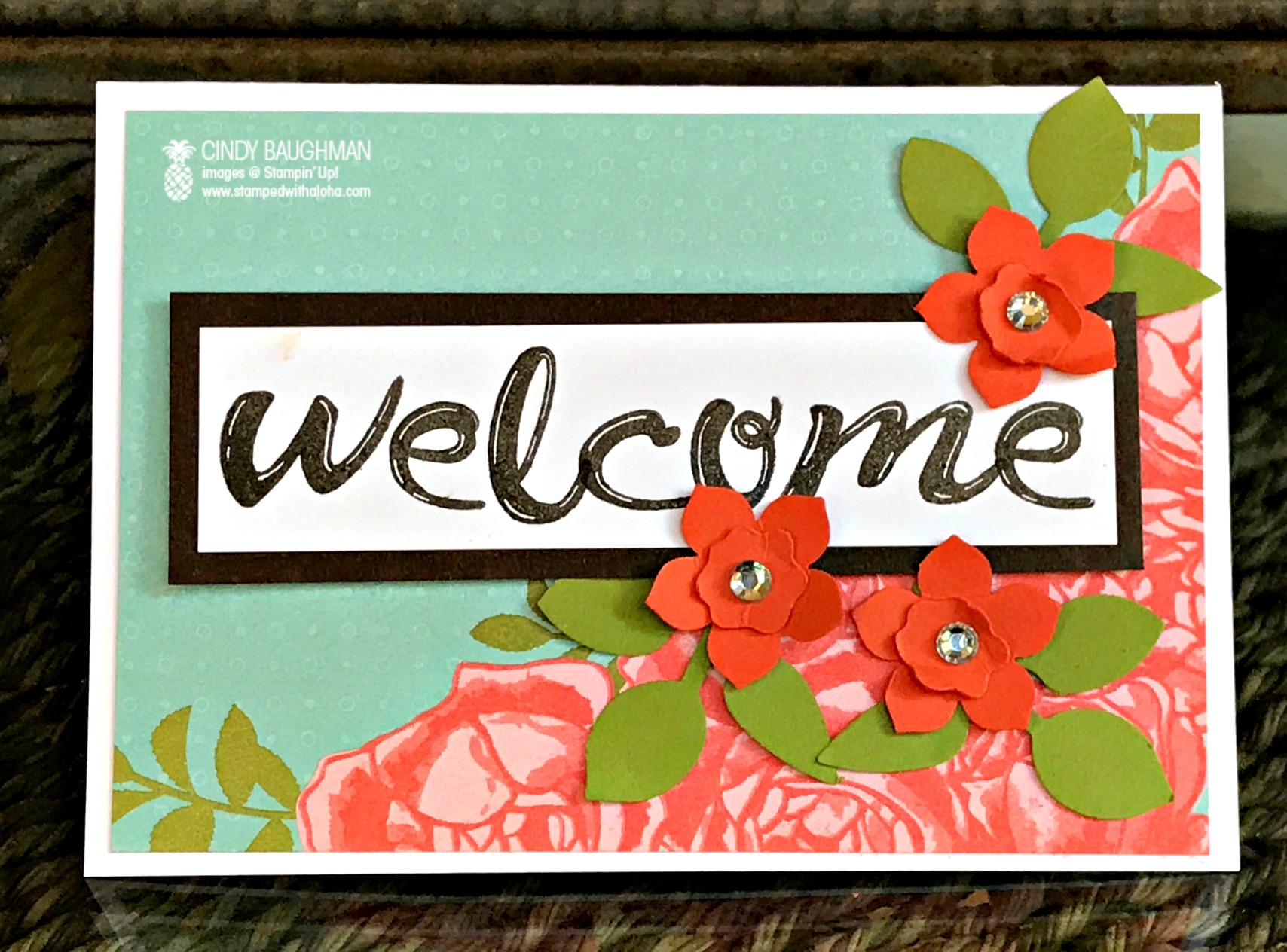 Petal Garden Welcome Card - www.stampedwithaloha.com