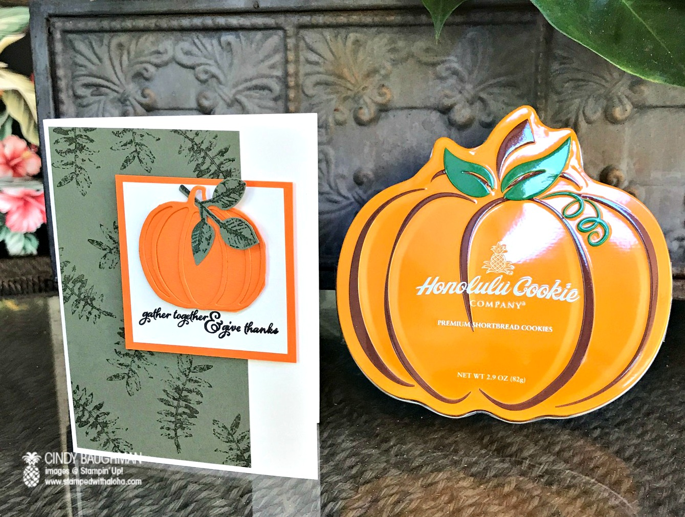 Painted Harvest Pumpkin Card - www.stampedwithaloha.com