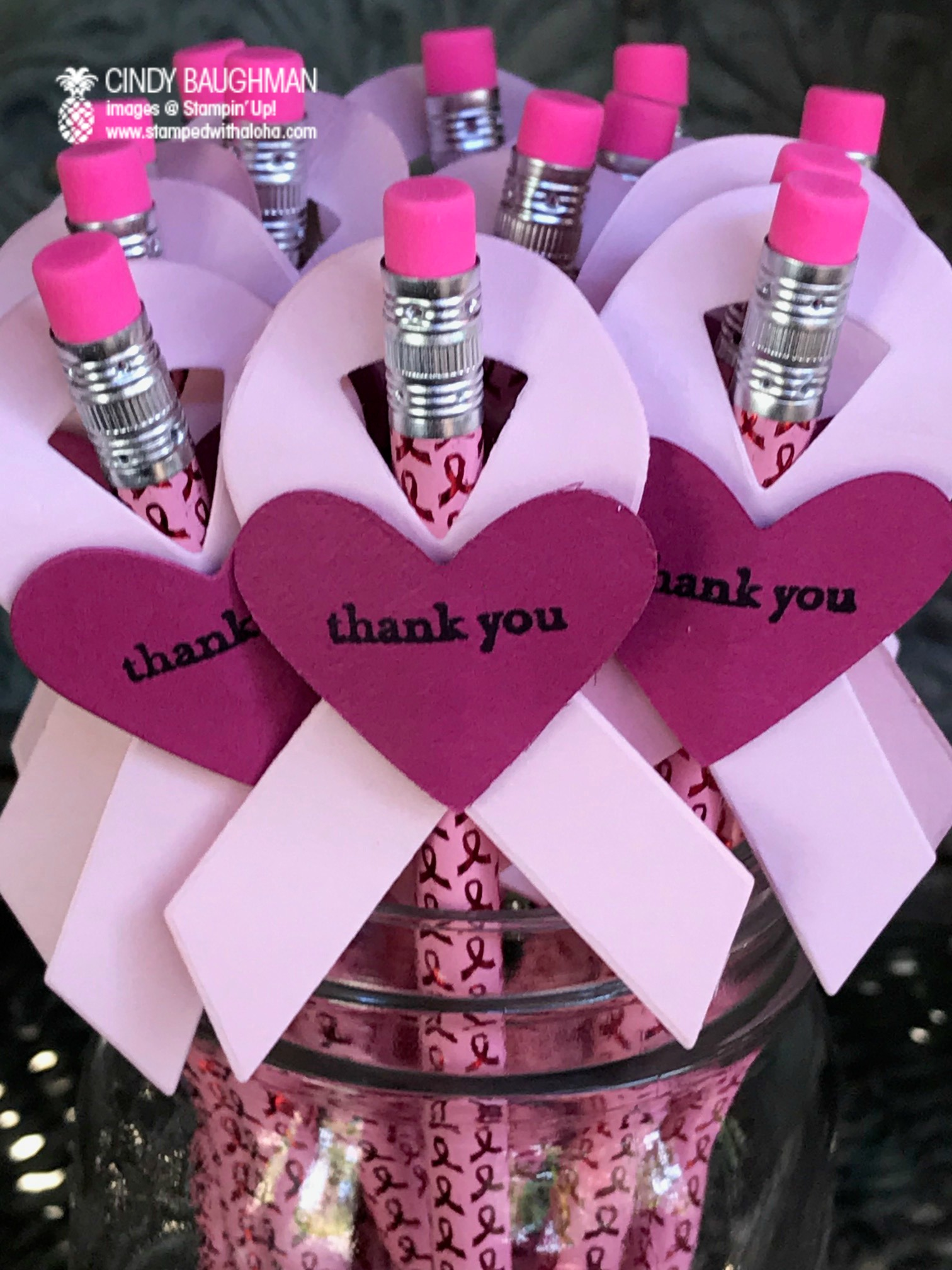 Pink Ribbon Pencis - www.stampedwithaloha.com
