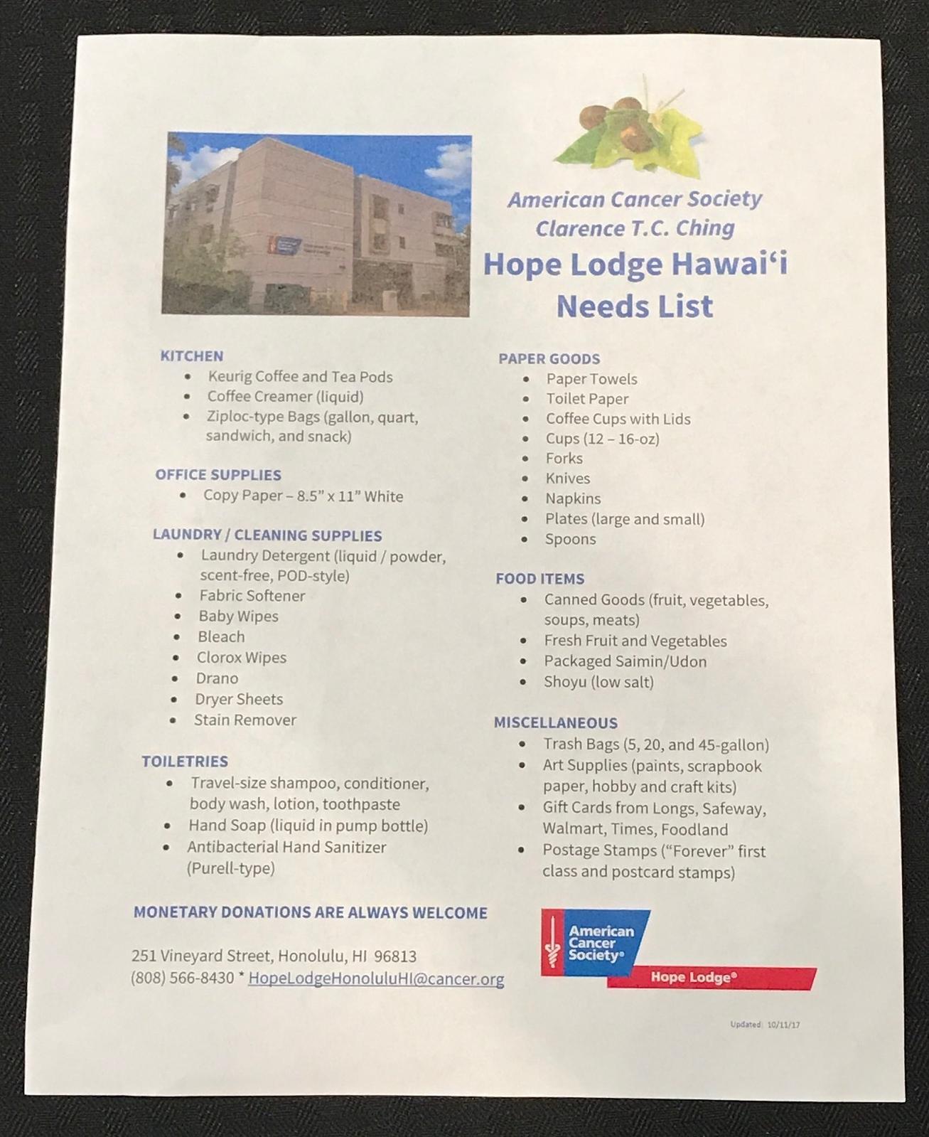 Hope Lodge of Hawaii Needs - www.stampedwithaloha.com