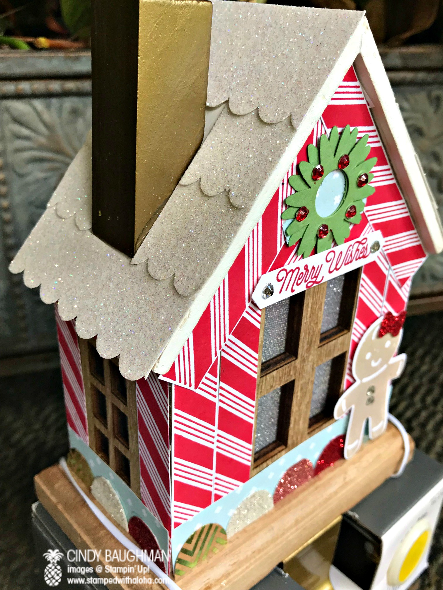 Gingerbread House Stocking Holder - www.stampedwithaloha.com