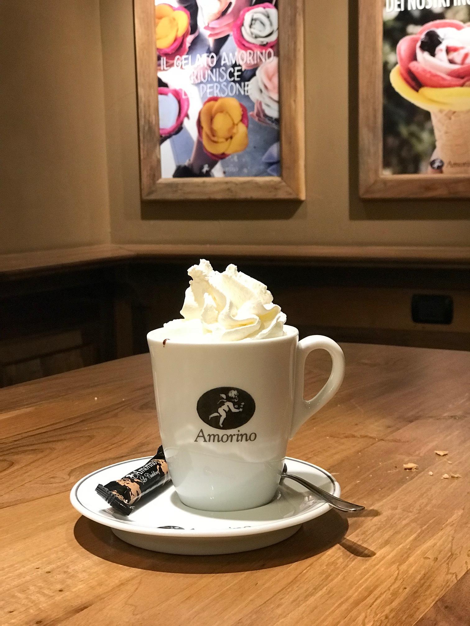 Hot Cocoa with gelato at Amarino