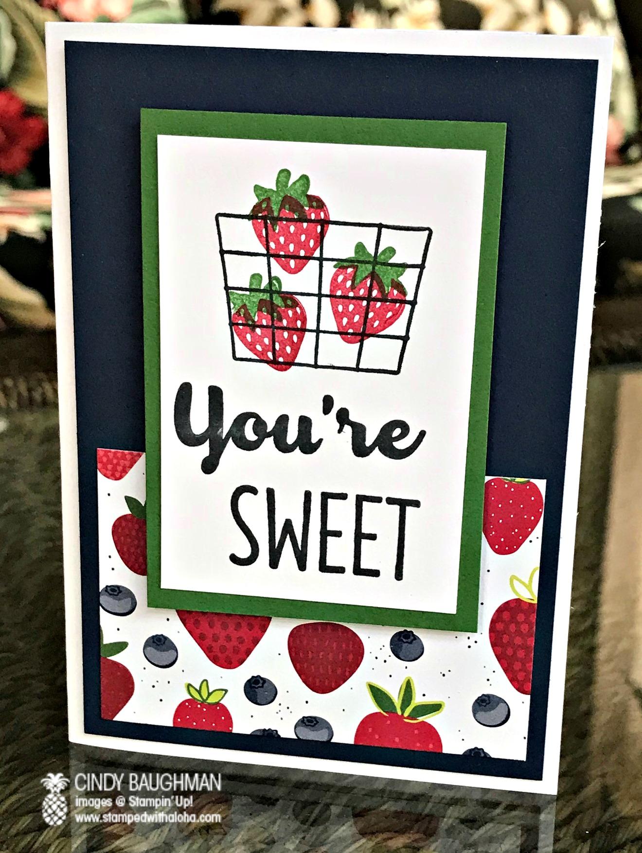 Tutti Frutti Sweet Strawberry Card - www.stampedwithaloha.com