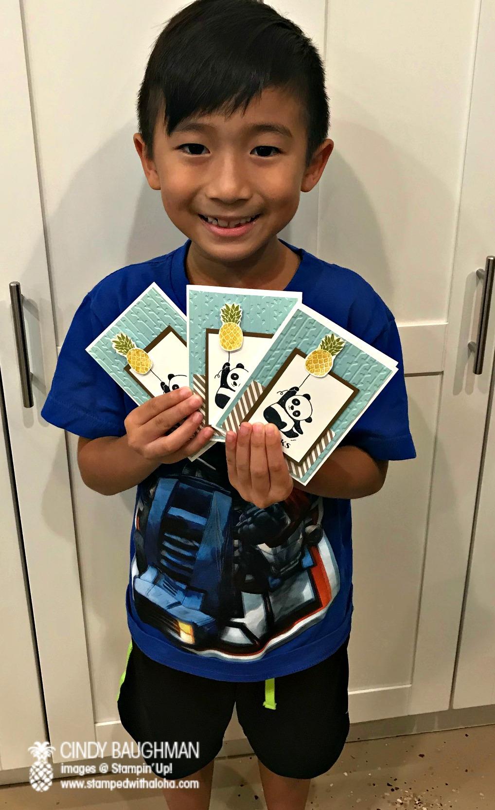 Noah and his panda cards