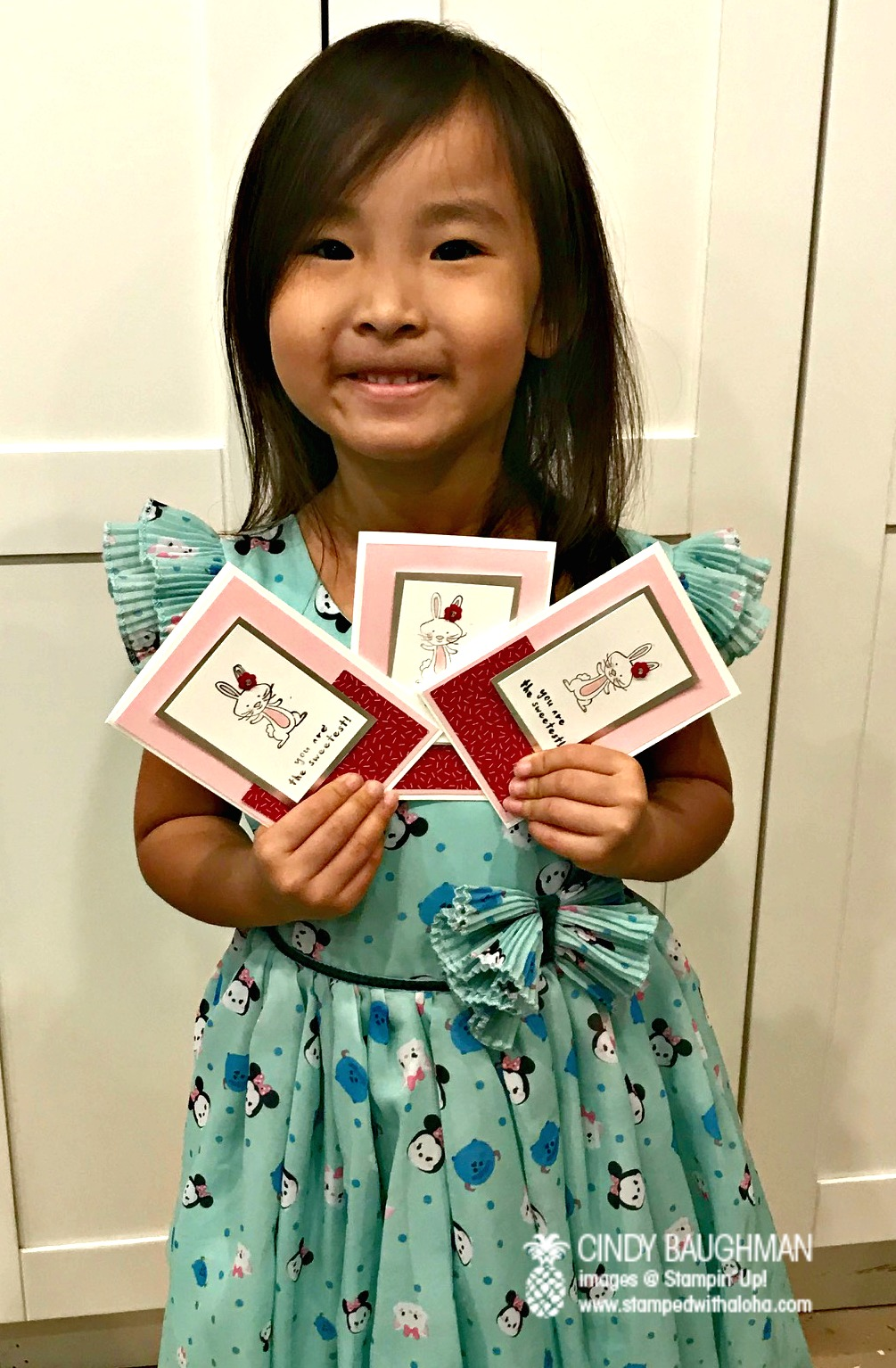Omi and her bunny cards