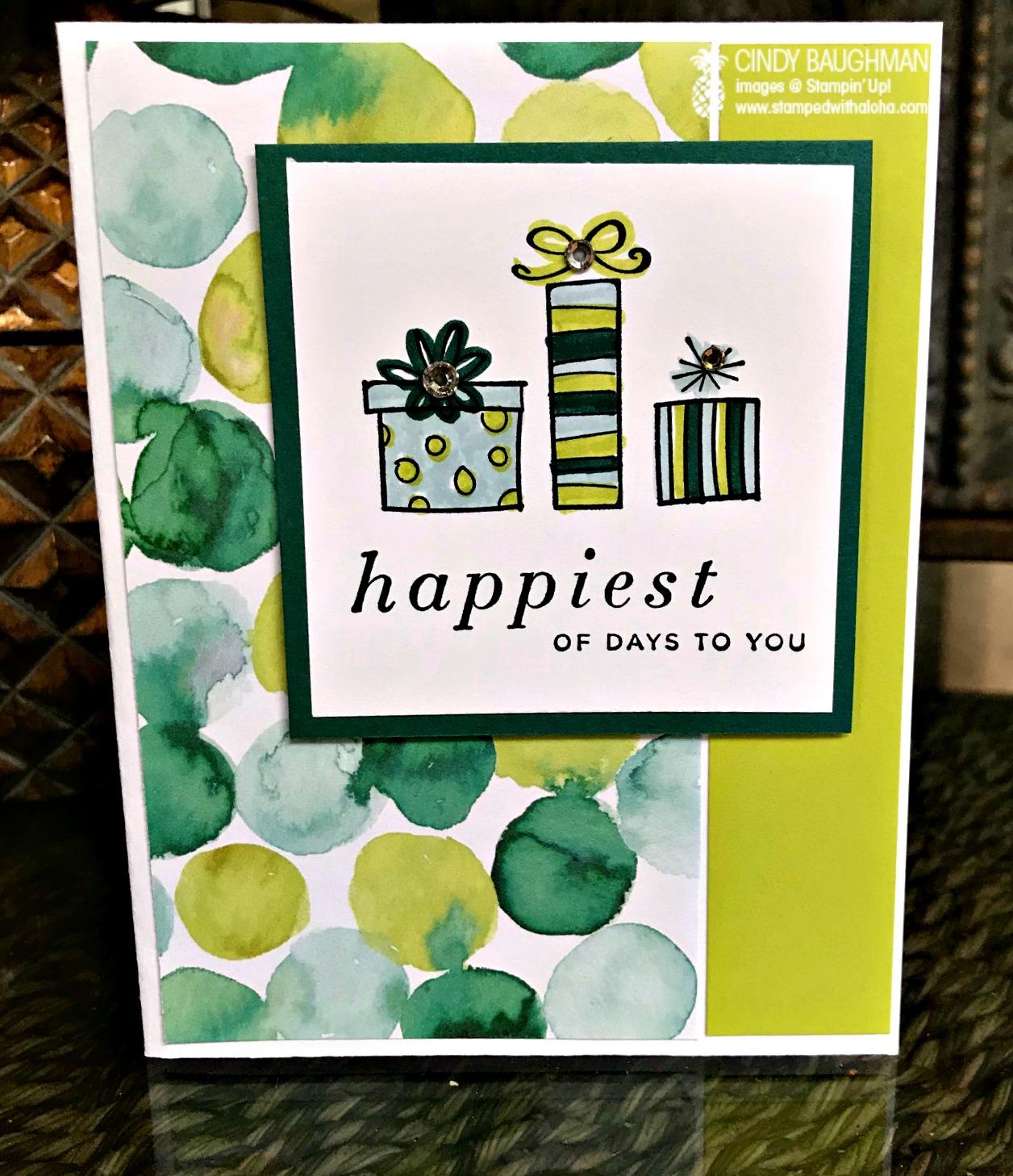 Happiest of Days Birthday Card - www.stampedwithaloha.com