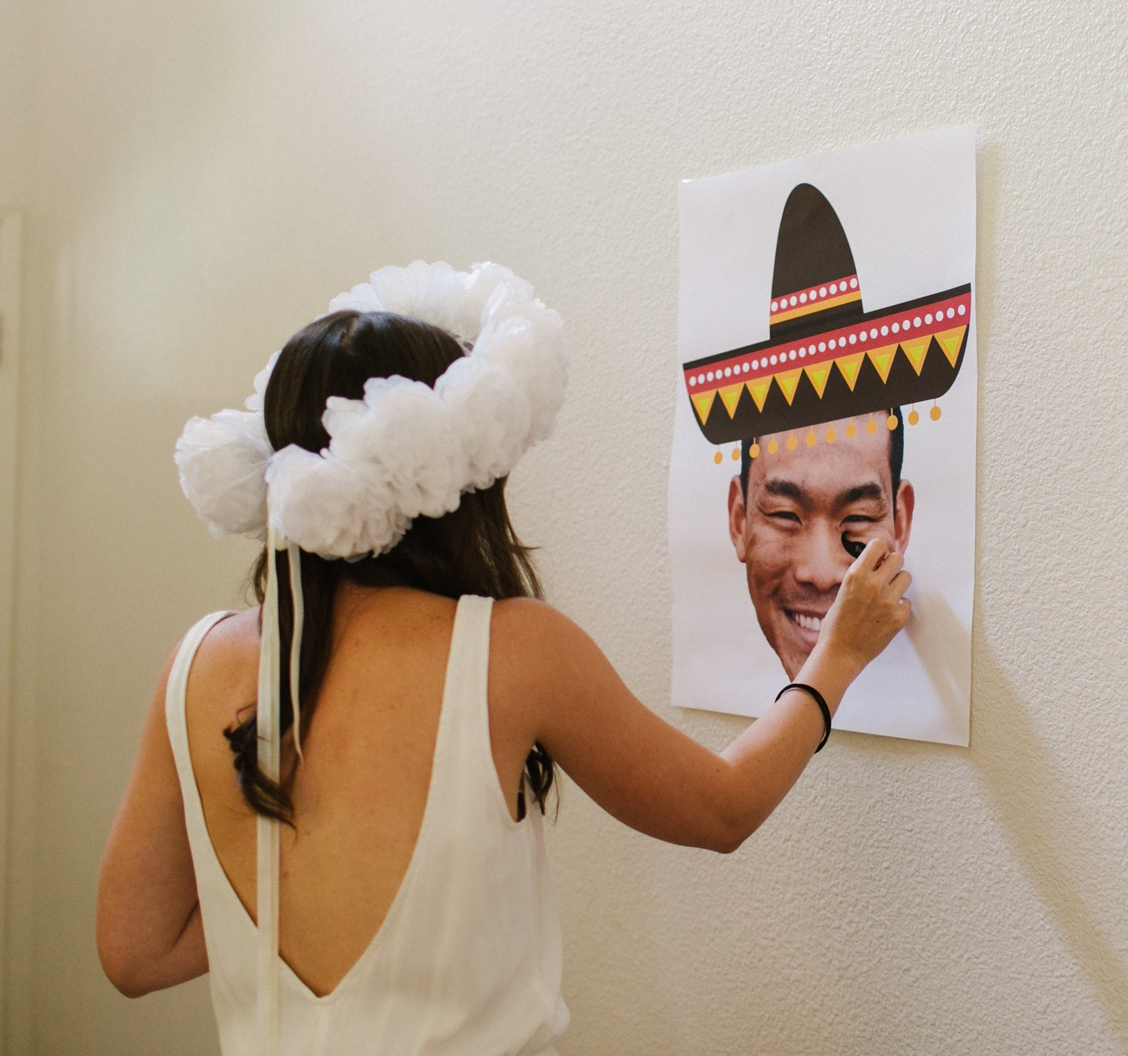 Pin the mustache on the groom game - www.stampedwithaloha.com