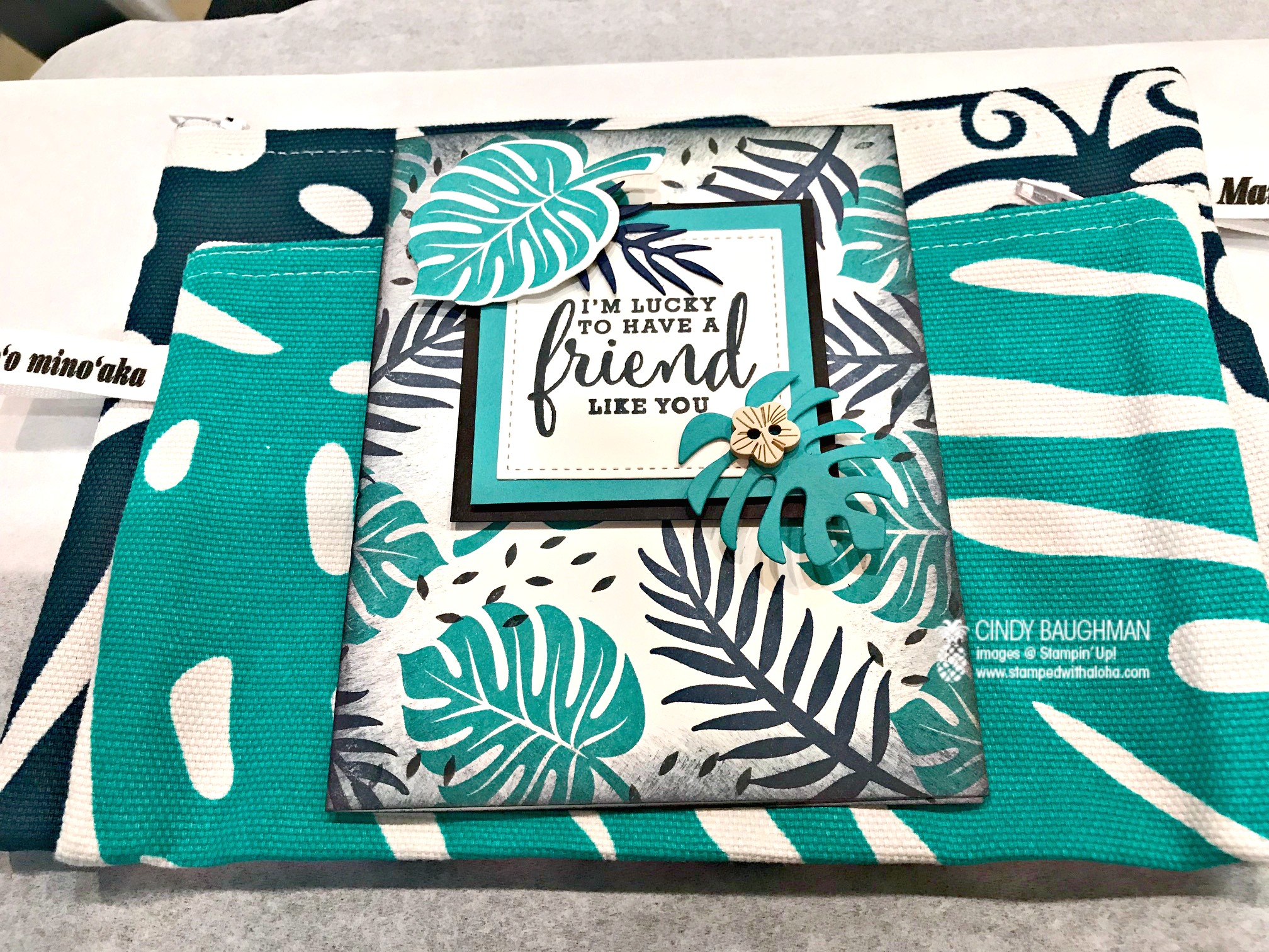 Tropical Chic Friendship Card and Gift - www.stampedwithaloha.com