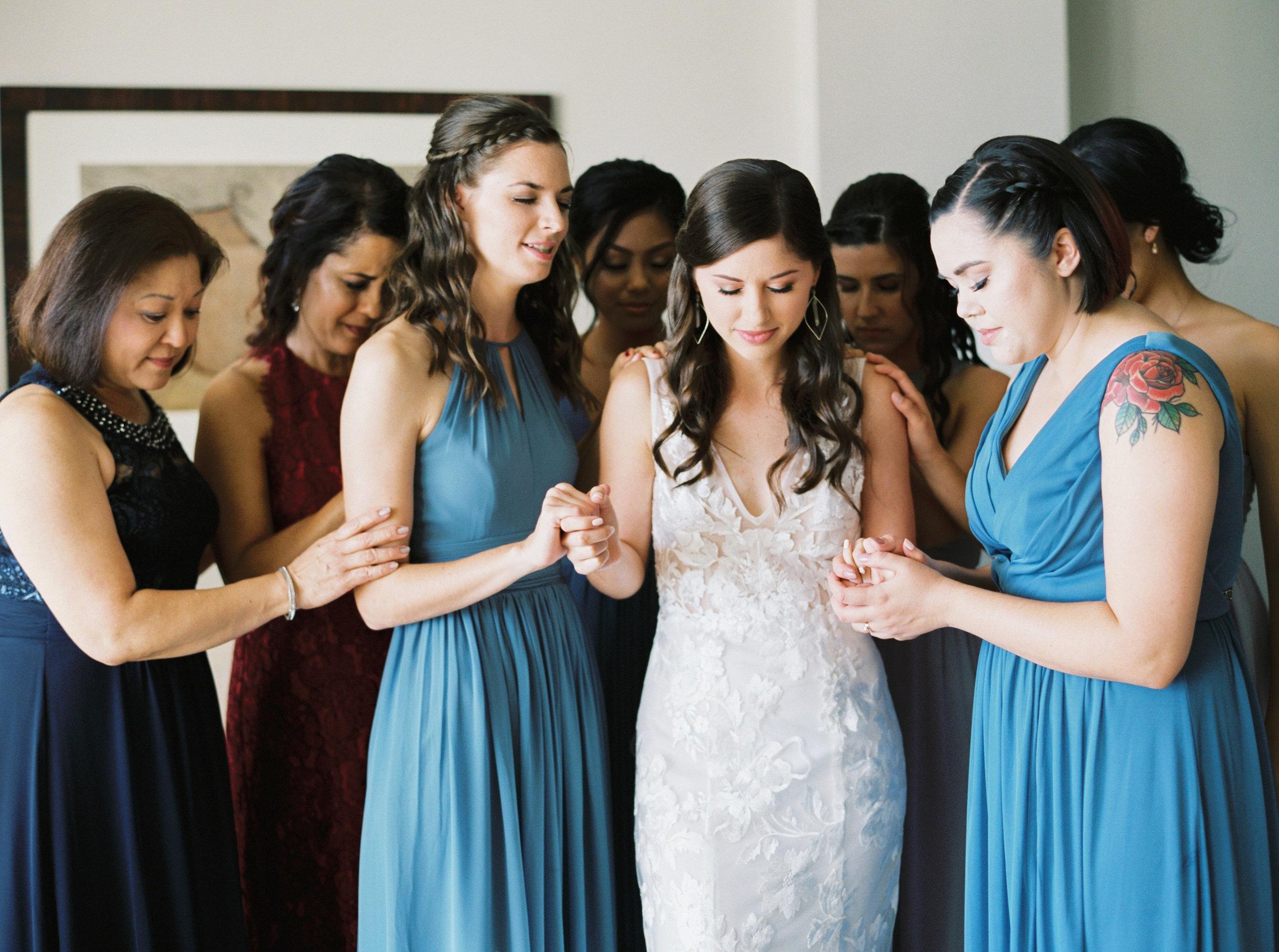 Praying before the wedding
