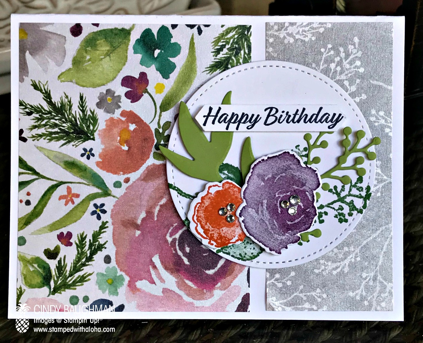 Frosted Floral Birthday Card - www.stampedwithaloha.com