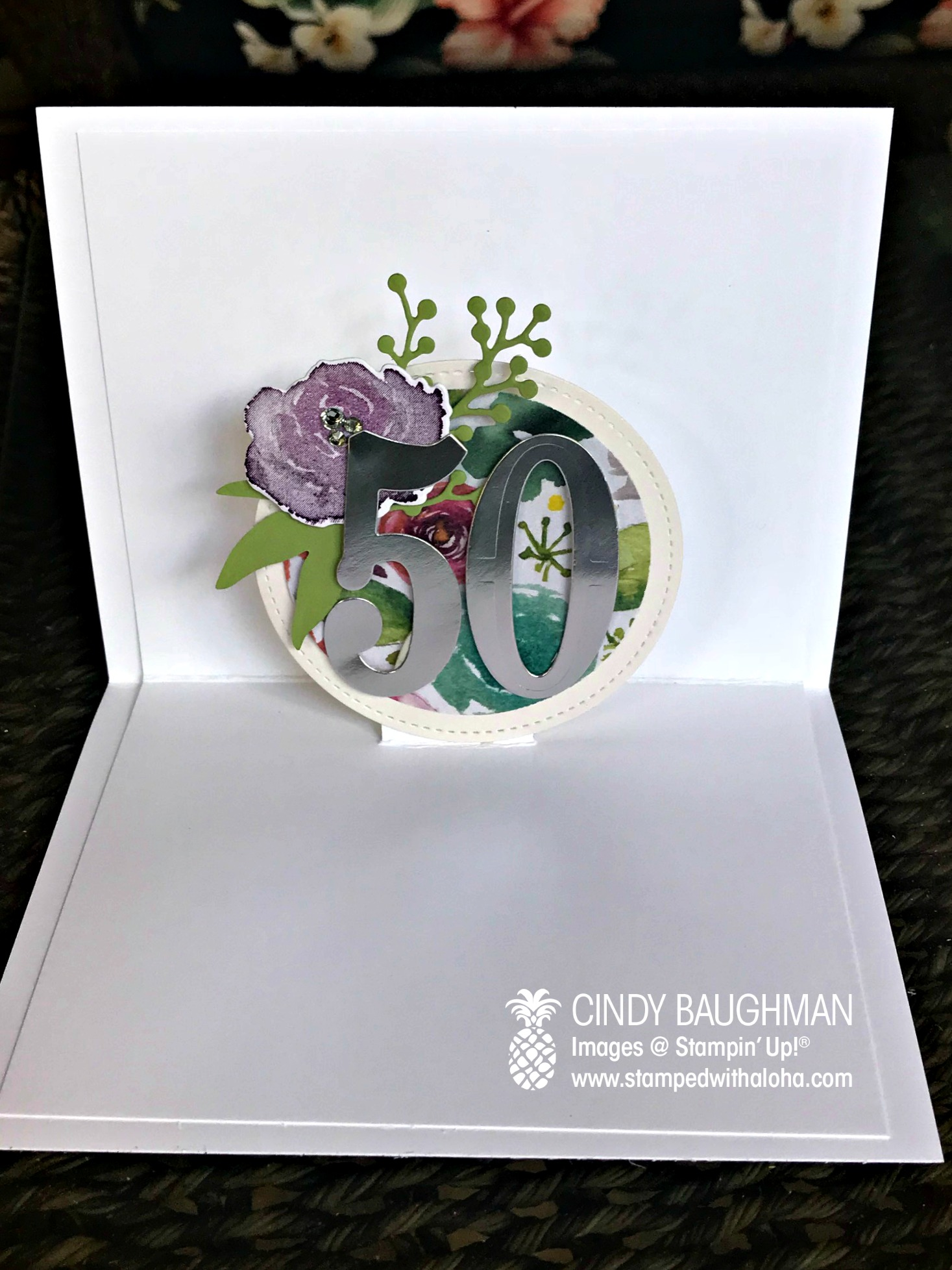 Frosted Floral Birthday Card (inside)