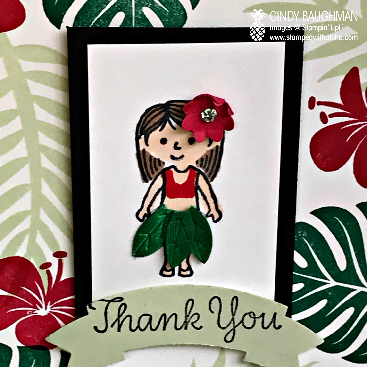 Family and Friends Hula Girl Thank You Card
