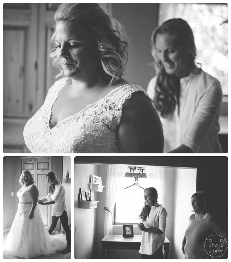 Nothing like seeing the bride fully dressed in her gown for the first time.