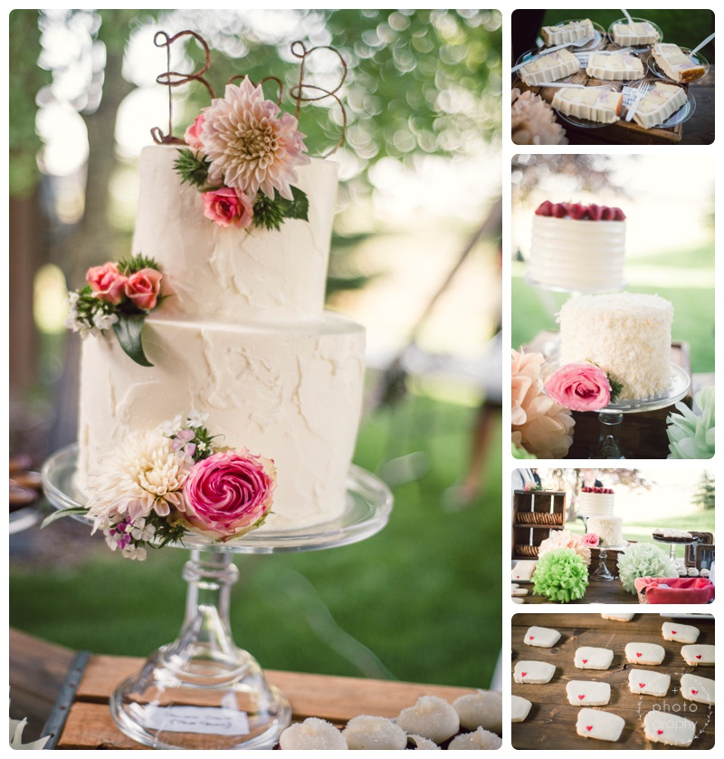 Seriously stunning dessert table and wedding cake from  Elle's Belles . I loved the combination of cakes and cookies, and especially loved the adorable (and delicious) Montana cookies.